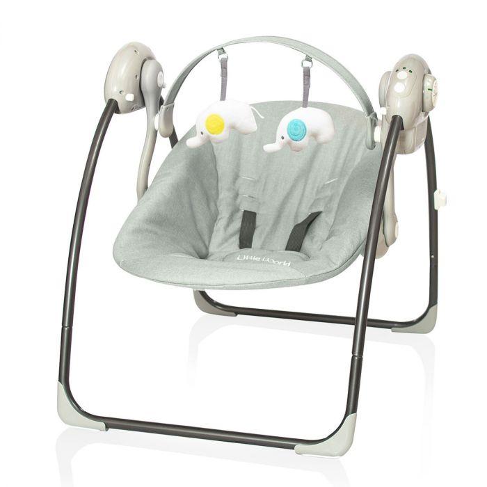 Automatische Schommel Baby.Baby Swing Little World Dreamday Melange Grey Autostoelstunter